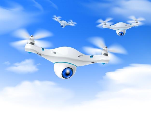 Realistyczne białe drone niebieskie niebo tło