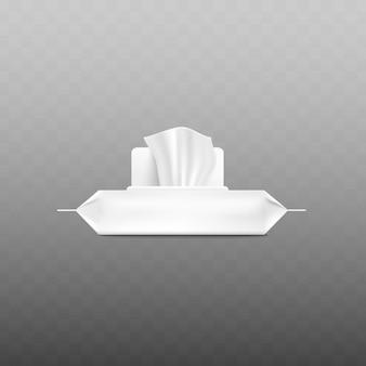 Realistyczne białe opakowanie chusteczek nawilżanych z otwartą klapką i chusteczką wychodzącą z boku na przezroczystym tle - plastikowa saszetka