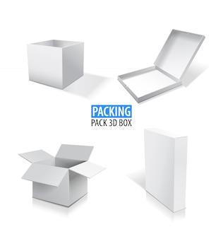 Realistyczne białe otwarte i zamknięte puste pudełko zestaw ilustracji.