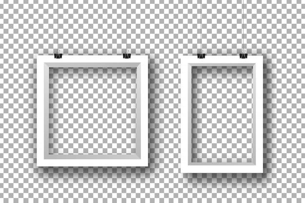 Realistyczne białe papierowe ramki na przezroczystym tle do dekoracji i identyfikacji wizualnej.