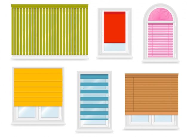 Realistyczne białe plastikowe okna z różnymi roletami. ilustracja.