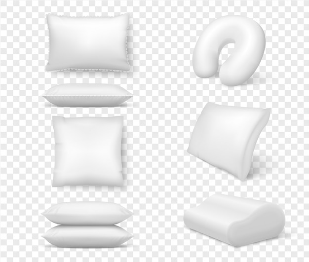 Realistyczne białe poduszki. 3d wygodna poduszka kwadratowa anatomiczna. szablon, makieta białej puszystej poduszki na relaks, sen, drzemkę, pościel