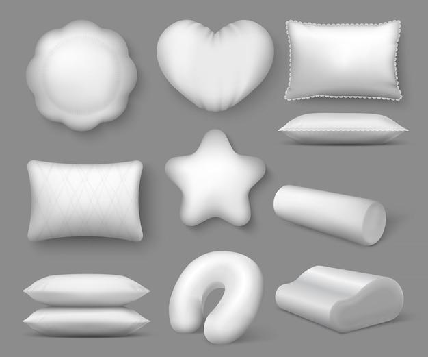 Realistyczne białe poduszki. okrągłe miękkie poduszki 3d do spania i odpoczynku, kwadratowa poduszka z wygodnym miejscem do siedzenia, koncepcja relaksu w domu. poduszka