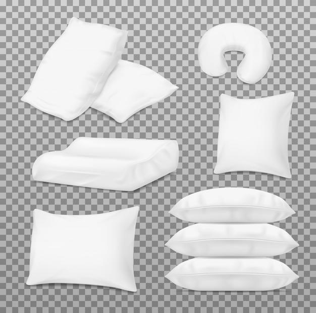 Realistyczne białe poduszki, poduszki ortopedyczne