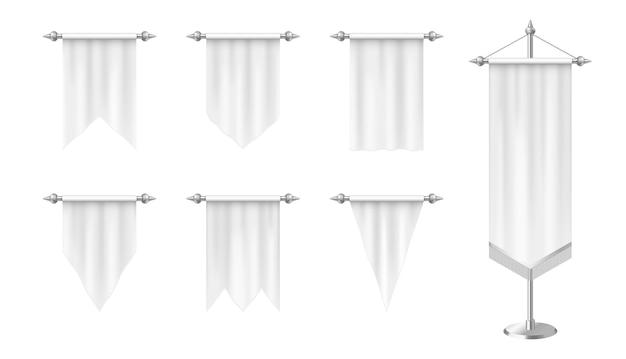 Realistyczne białe proporczyki pionowe flagi na białym tle