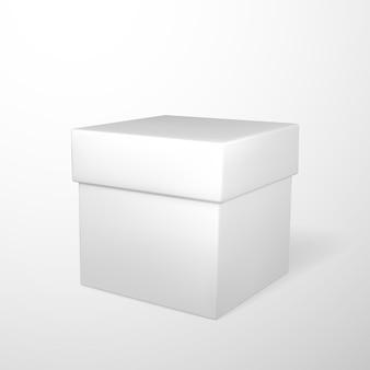 Realistyczne białe pudełko na białym tle