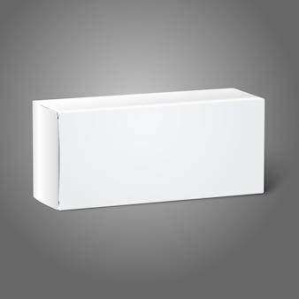 Realistyczne białe pudełko z czystego papieru. na białym tle na szarym tle projektowania i marki.