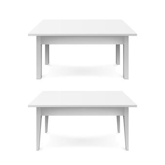 Realistyczne białe stoły biurowe z cieniem na białym tle