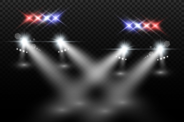 Realistyczne białe świecące okrągłe belki reflektorów samochodowych, na białym tle. radiowóz. światło z reflektorów. patrol policyjny.