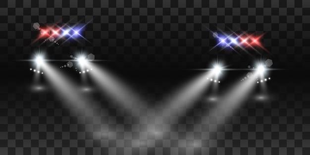 Realistyczne białe świecące okrągłe belki reflektorów samochodowych, na przezroczystym tle. radiowóz. światło z reflektorów. patrol policyjny.