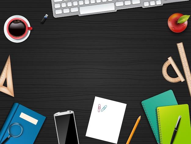 Realistyczne biuro biznes biurko i obszar roboczy