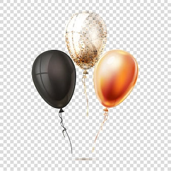 Realistyczne błyszczące balony na przezroczystym tle. balony złote, czarne i srebrne.
