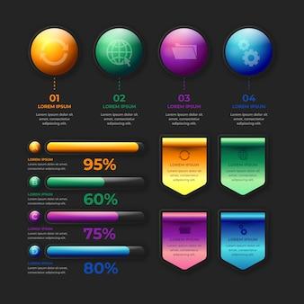 Realistyczne błyszczące elementy infographic