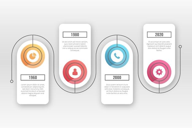 Realistyczne błyszczący osi czasu infographic