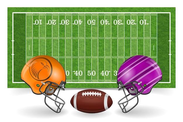 Realistyczne boisko do futbolu amerykańskiego z hełmami i piłką
