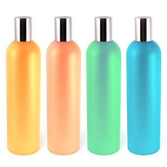 Realistyczne butelki na szampony, odżywki, balsamy. ilustracja zawiera siatkę gradientu.