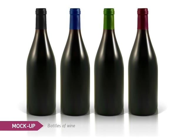 Realistyczne butelki wina białego i czerwonego na białym tle z odbiciem i cieniem. szablon etykiety wina.