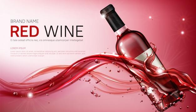 Realistyczne butelki z kieliszkiem do wina w płynącej czerwonej cieczy