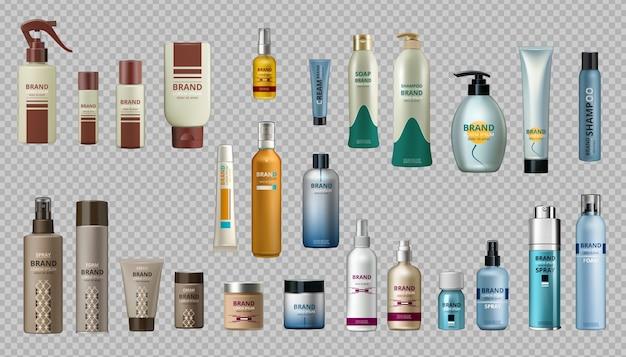 Realistyczne butelki zestaw kolekcja makieta