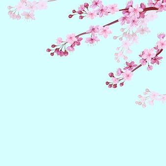 Realistyczne chińskie różowe sakura tło na tle miękkiego niebieskiego nieba. orientalny wzór kwiat kwitnąć wiosną tło. 3d charakter tło ilustracja