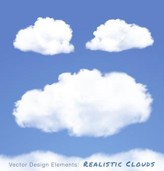 Realistyczne chmury na niebieskim niebie. zestaw ilustracji