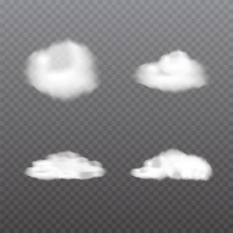 Realistyczne chmury na przezroczystym tle.
