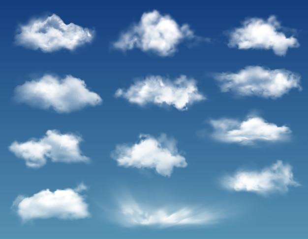 Realistyczne chmury na tle błękitnego nieba lub nieba