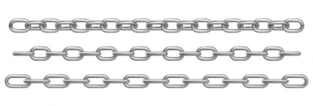 Realistyczne chromowane metalowe łańcuchy
