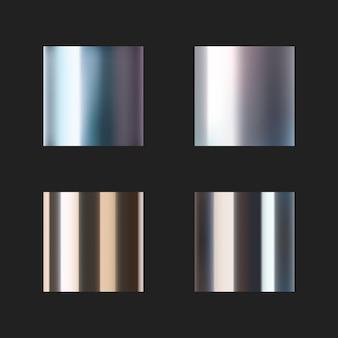 Realistyczne chromowane metalowe szablony ustawione na czarno
