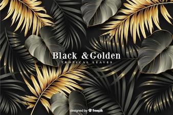 Realistyczne ciemne i złote liście tło