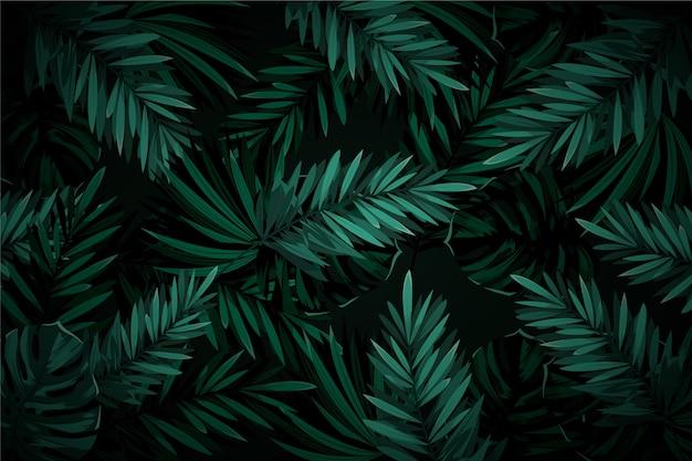 Realistyczne ciemne liście tropikalny tło