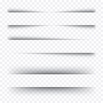 Realistyczne cienie. zestaw przezroczystych realistycznych cieni.