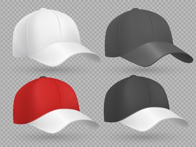 Realistyczne czapki z daszkiem czarne, białe i czerwone szablony wektorowe