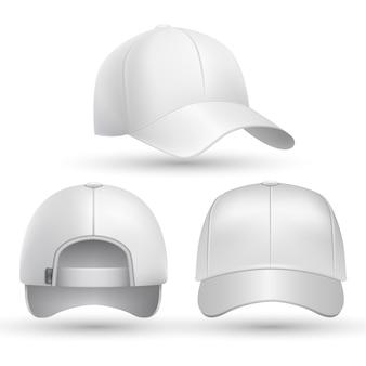 Realistyczne czapki z daszkiem z przodu, z boku i od tyłu.