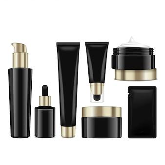Realistyczne czarne butelki kosmetyczne ze złotymi nakrętkami. pojemniki, tubki, saszetka na krem, balsam, balsam, żel, krem podkładowy. ilustracja
