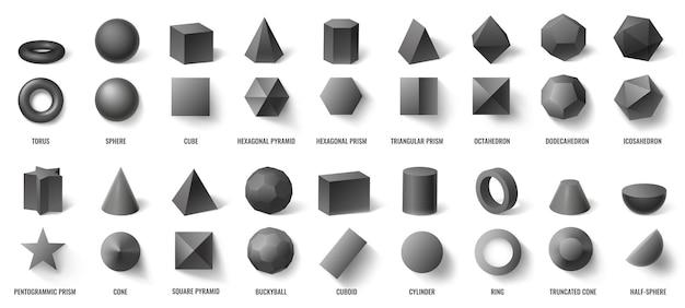 Realistyczne czarne podstawowe geometryczne kształty 3d w widoku z góry iz przodu na białym tle. trójwymiarowe obiekty, takie jak torus, kula, sześcian, sześciokątna piramida i ilustracja wektorowa pryzmatu