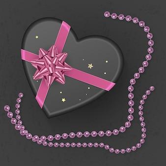 Realistyczne czarne pudełko prezentowe w kształcie serca ozdobione różową kokardką, widok z góry. ilustracja wektorowa eps