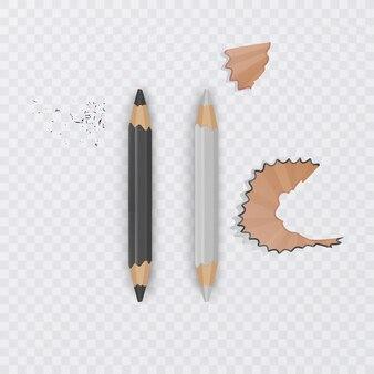Realistyczne, czarno-białe ołówki na przezroczystym tle