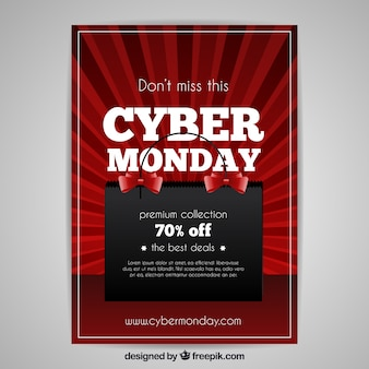 Realistyczne czarno-czerwone plakat cyber posterunkowy poniedziałku