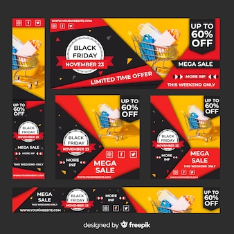 Realistyczne czarny piątek sprzedaż banner www zestaw z koszyka