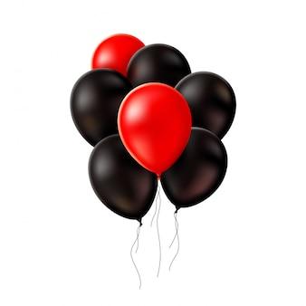 Realistyczne czerwone czarne balony czarny piątek
