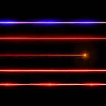 Realistyczne czerwone i niebieskie promienie laserowe na czarnym tle