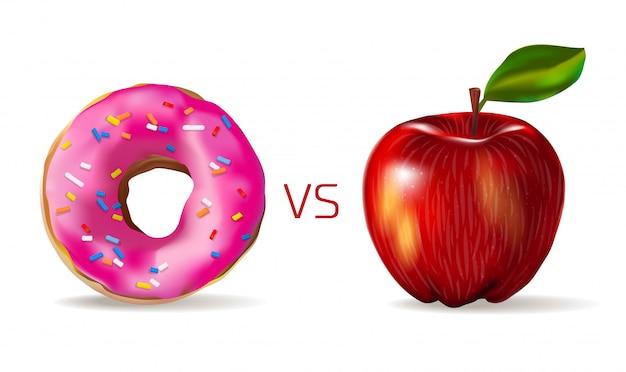 Realistyczne czerwone jabłko przed słodkim różowym pączkiem. wegetarianizm i zdrowy styl życia. junk food vs zdrowe.
