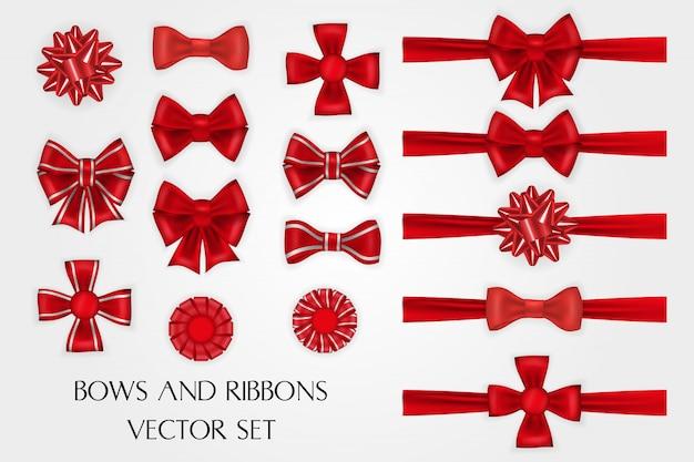 Realistyczne czerwone jedwabne łuki i wstążki wektor zestaw