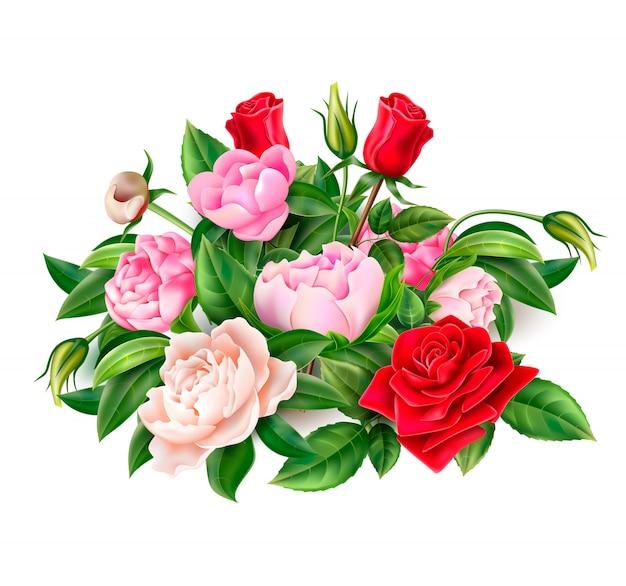 Realistyczne czerwone kwiaty róży, różowe i białe kwiaty piwonii elegancki bukiet z zielonymi liśćmi