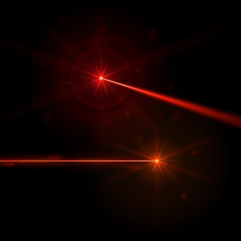 Realistyczne czerwone promienie laserowe na czarnym tle