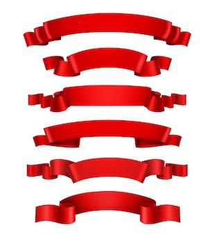 Realistyczne czerwone wstążki
