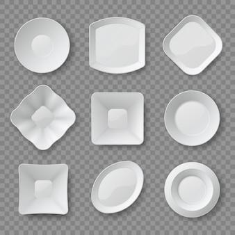 Realistyczne dania. 3d biały pusty jedzenie talerze, spodki i miski widok z góry. czyste makiety naczyń porcelanowych. ceramiczne naczynia projektuje wektor zestaw. pusty czysty realistyczny talerz różne porcelanowe ilustracje