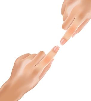 Realistyczne delikatne dłonie dotykowe z palcami wskazującymi.