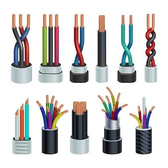 Realistyczne elektryczne kable przemysłowe, elektryczne druty miedziane ustawione na białym tle